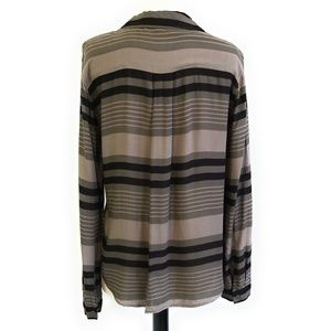 Anthropologie Tops - CLOTH & STONE Olive Brown Striped Blouse Shirt M
